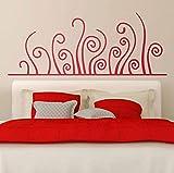 Finloveg BettKopfteil WandaufkleberGroße Horizontale BedheadEine Künstlerische Art Vegetation Gebogene Vinyl Aufkleber Wandbilder 100X36 Cm