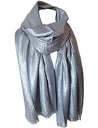 Echarpe étole femme 75 x 190 cm plusieurs couleurs argentées - franges courtes
