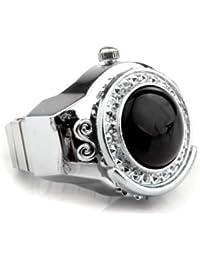 Gleader Reloj Anillo Metal agata Redondo Negro Elastico 20mm