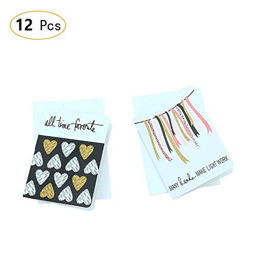 Romantische Mischung (Jia HU 12Romantische Mini Grußkarten für Hochzeit zufällige Mischung Farbe)