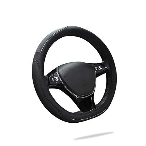 """Ergocar 2019 D-Form Auto Lenkradbezug Rutschfester Auto Lenkradschutz 38cm (15"""") Mikrofaser PU Leder (Schwarz-W)"""