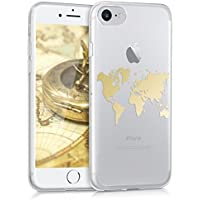kwmobile Hülle für Apple iPhone 7 / 8 - TPU Silikon Backcover Case Handy Schutzhülle - Cover klar Weltkarte Umriss Design Gold Transparent