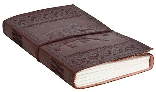 Notizbuch Gusti Leder ''Sandra'' Buch Lederbuch DIN A5   Echtes Leder   Handgeschöpftes Papier   Nachfüllbare Seiten   Recyclebar   Traditionelles Lederaccessoire Blanko - Motiv - Elefant P35