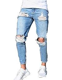 Yujeet Hombre Pantalones Vaqueros Slim Fit Tapered Casual Jeans al Aire Libre para Verano RNWZSavi