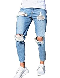 11b3869b8525 Pantaloni Strappato per Uomo, Moda Skinny Denim Pantaloni a Vita Media Slim  Fit Stretch Straight