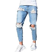 Skinny Vaqueros Hombre - Fashion Slim Fit Pantalones Rotos con Bolsillos Casual Verano Primavera Pantalón Mezclilla