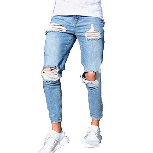 Pantaloni strappato per uomo, moda skinny denim pantaloni a vita media slim fit stretch straight casual jeans pantaloni con tasche s-4xl (4xl, blu chiaro 1)