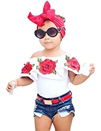 squarex Kids Baby Girls Off Shoulder 3D Rose Flower T Shirt Tops Outfits Clothes