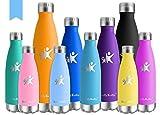 KollyKolla Vakuum Isolierte Edelstahl Trinkflasche, 750ml BPA Frei Wasserflasche Auslaufsicher, Thermosflasche für Sport, Outdoor, Fitness, Kinder, Schule, Kleinkinder, Kindergarten (Hellblau)