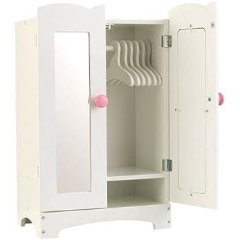 KidKraft 60132 Armoire en bois blanc Lil' Doll incluant ceintres pour poupées de 45 cm