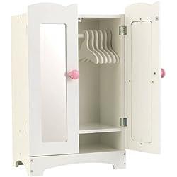KidKraft 60132 Armario de madera Lil' Doll para muñequitas de 45cm con 6 perchas incluidas, muebles para dormitorio de niños
