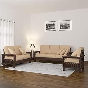 MAMTA DECORATION Solid Sheesham Wood Sofa Set Furniture for Living Room,  3+2+1, Walnut Brown