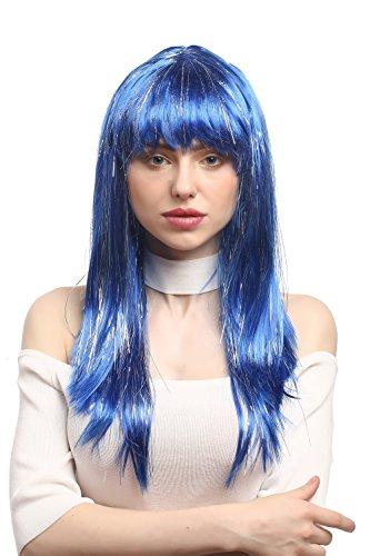 WIG ME UP - XR-003-PC3 Perücke Karneval Fasching Damen lang glatt Pony Blau + Silberne Glitter Strähnen ca. 55 ()