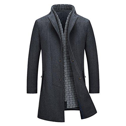 teerfu hommes de laine slim fit long Business Manteau Trench gris foncé