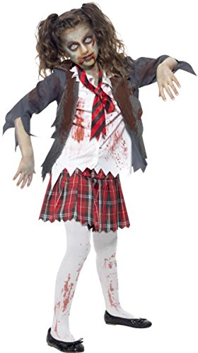 Kostüm School Shirt Girl (Halloween Fancy Kleid Mädchen Kostüm Zombie School Girl Komplettes Outfit)