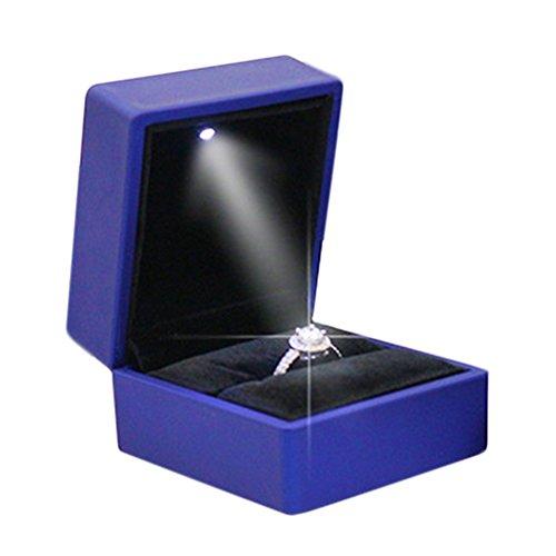 gaeruite Ring Schachtel mit LED-Licht Ringe Samt Schmuck Etui, LED-Licht Ringschachtel Schmuckkästen für Ring Halskette Anhänger (ring box, Blue)