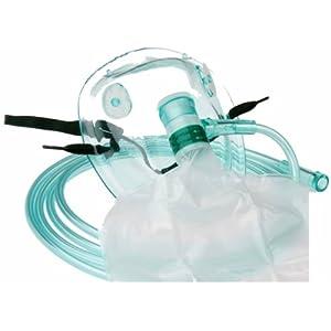 Sauerstoffmaske Hohe Konzentration Sauerstoffmasken mit Reservoirbeutel f. Erwachsene 1 Stück mit grünem 210cm Sauerstoffschlauch O2 Atemmaske
