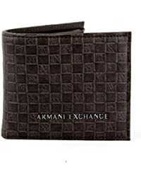 Armani Exchange Logo Coin Case Men's Wallet, Brown (Brown Check), 9x1x11 centimeters (B x H x T)