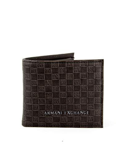 ARMANI EXCHANGE Logo Coin Case - Portafogli Uomo, Marrone (Brown Check), 9x1x11 cm (B x H T)