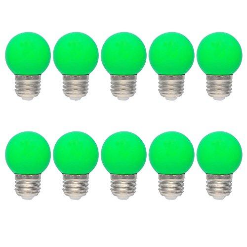 10X E27 Ampole Vert 1W Ampoules de Couleur PC Décoration LED 100LM Économie d'énergie 360° Angle Lampe Couleur AC220V-240V