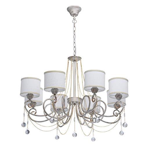 Lampadario da soffitto lussuoso classico di metallo dipinto colore bianco ed oro paralume di stoffa bianchi gocce cristalli in salone soggiorno o camera da letto 8 * 40w e14 - escl