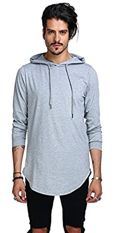 Whatlees Mens Hip Hop Extra Long Design Solid Long Sleeve Side Zipper Pullover Hoodie Shirt