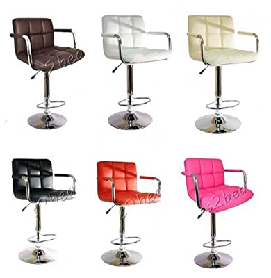 Bargains-galore® Brand New Breakfast Bar Stool Faux Leather Barstool Kitchen Stools Chrome Chair produced by Ethos - quick delivery from UK.