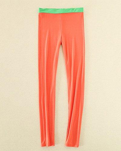 Femme Pantalon Casual Couleur Unie Extensible Leggings Longueur de la Cheville Rouge de pastèque