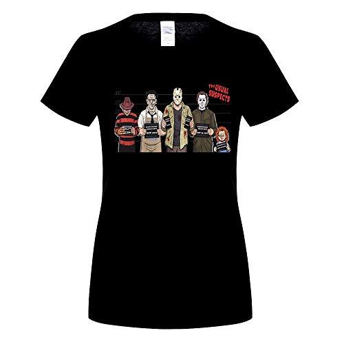 (Üblichen Verdächtigen Halloween T-Shirt Top Chucky Freddy Krueger Zombie Jason Blut Top T-Shirt Humor Frauen Crewneck T-Shirts-schwarz, M)