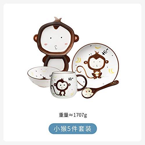 YUWANW Kreativer Obstteller Keramische Kindergeschirr Fach kleine Platte Cartoon niedlich eine Person Frühstück Set Baby Reis Schüssel, Affe 5 Stück Anzug