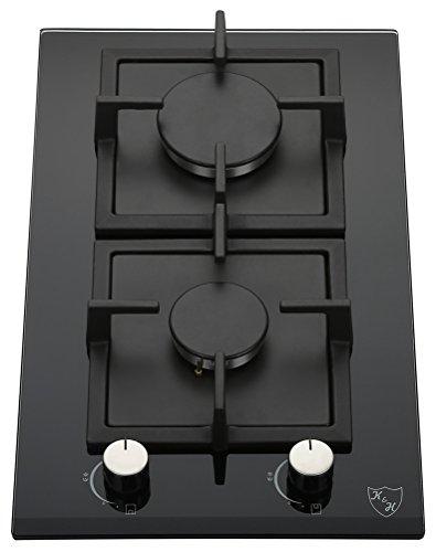 K&H Domino 2x Brûleurs Table de Cuisson Gaz en Verre trempé 30cm 2Z-KHG