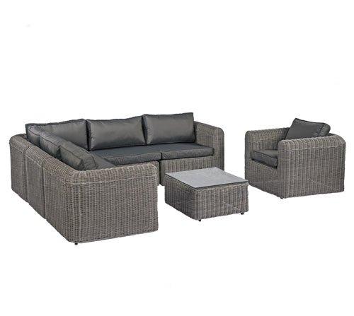 POLY RATTAN Lounge Gartenset GRAU Sofa Garnitur Polyrattan ...