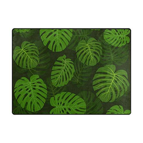 Orediy Weiche Teppiche Muster grünes Blatt Leichter Bereich Teppich Kinder Spielmatte rutschfest Yoga Kinderzimmer Teppich für Wohnzimmer Schlafzimmer, Schaumstoff, Multi, 160 x 122 cm -