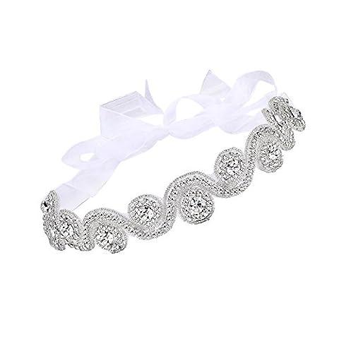 Butterme Elégant Luxury Handmade strass cristal Bandeau, Bijoux Perles mariée
