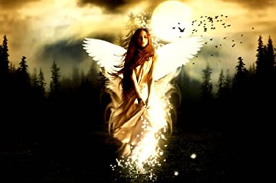 "FANTASY: ANGEL STANDING IN MOON Stunning Gallery Framed Canvas Art Poster Print Modern Art Decor NEW Ready To Hang On Your Wall 30"" x 20"" comes with a Dartmoor Prints and Gifts Keyring"