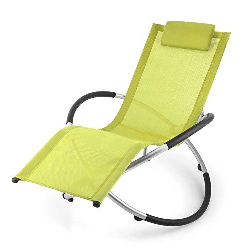 Blumfeldt Chilly Billy • Gartenliege • Liegestuhl • Schaukelliege • Relaxstuhl • ergonomische Wellenform • Sicherheitsstopper • Aluminiumrohr-Konstruktion • atmungsaktives Kunststoffgewebe • pflegeleicht • klappbar • witterungsbeständig • grün - 9