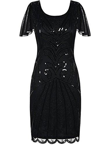 PrettyGuide Damen 20er Jahre Charleston Kleid Kurzarm Pailletten Gatsby Kleid XL Schwarz