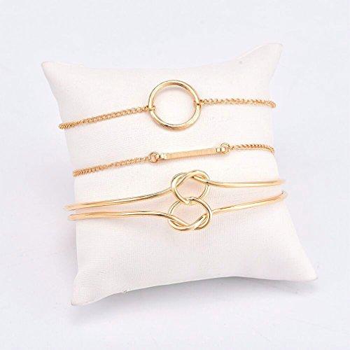 Weiy Verschiedene geschichtete Armbänder Love Knot Stapelbar Open Cuff Armreif Circle Bar Mehrere Armband Set Stretch-Armband für Frauen