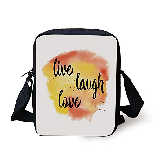 LULABE Live Laugh Love Decor,Ink Painted Lettering on Soft Watercolors Inspiration Artwork,Yellow Coral Black Print Kids Crossbody Messenger Bag Purse -