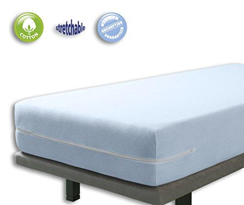 Matratzenbezug (VELFONT – Frottee-Matratzenbezug aus 100% elastischer Baumwolle - Hellblaue - Matratzen-Höhe 15-25cm - verfügbar in verschiedenen Größen - 90x190/200cm)