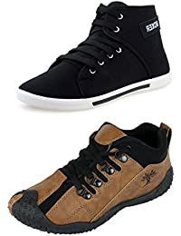 Chevit Men's Combo Pack of 2 Stylish Sneakers (Casual Shoes)