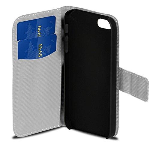 Gemusterte Hülle für Apple iPhone 5S SE 5 Klapphülle Tasche – Wallet Case im Owl und Reh Motiv Design mit Kartenfach und Aufstellfunktion Motiv 19