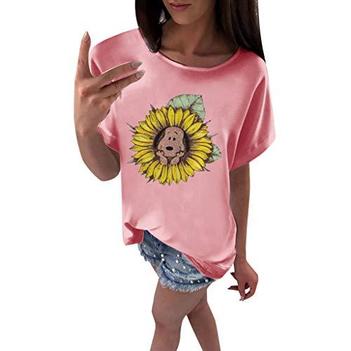 OVERDOSE Oberteile Frauen Kurzarm Blumen Gedruckt Tops Strand Beiläufige Lose Bluse Top T-Shirt Blusentops Sommerbluse Damen Tees (EU-38/CN-M, X-h-rosa) -