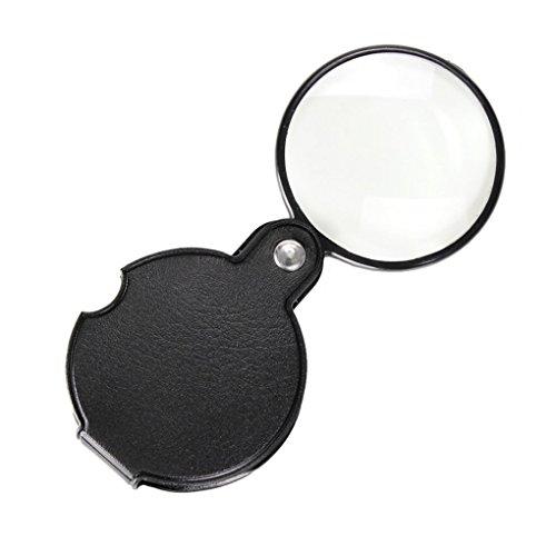 Georgie tragbar rund Little Praktische Lupe 10X Mini Faltbare Leder Pocket Lupe mit Schwarz Cover...