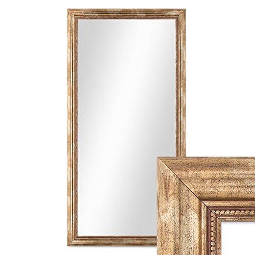 PHOTOLINI Wand-Spiegel 60x110 cm im Massivholz-Rahmen Barock-Stil Antik Gold/Spiegelfläche 50x100 cm