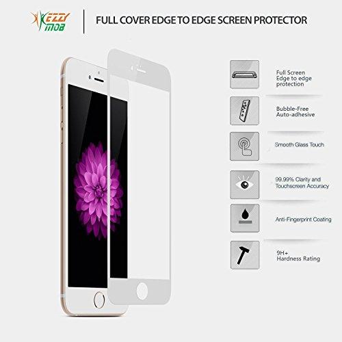 Glas Displayschutzfolie für iPhone 6/6S und 6Plus Randloser passgenau gehärtetes Glas mit geschwungene Kanten Maximale Scratch Auswirkungen und Drop Schutz 9H Stärke CLEAR Ballistic Glas 3D Touch Bil Weiß - weiß