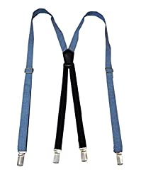 Navaksha Blue X-Back Solid Design Denim Adjustable Suspender