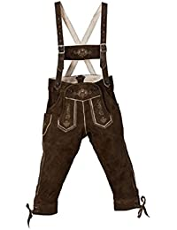 Traje típico de niños de pantalones de piel color marrón oscuro Talla 80–140