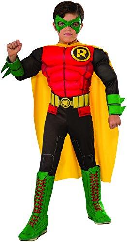 Batman Robin Deluxe Kostüm für Kinder, Größe:S (Kind Deluxe Robin Kostüm)