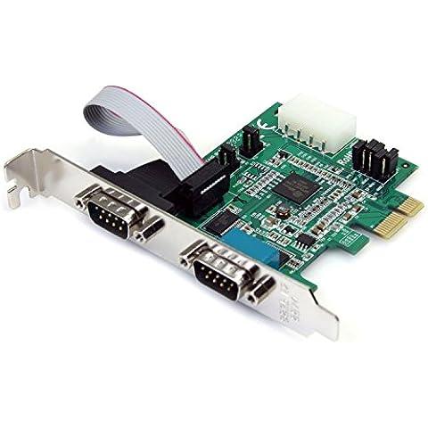 StarTech.com PEX2S952 - Tarjeta PCI Express PCIe de 2 puertos Serie RS232 UART 16950 Serial